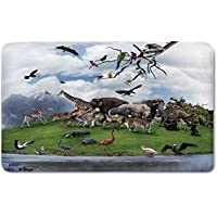 Memory Foam Bath Mat,Wildlife Decor,Tropic Animal Collage in the Valley with Lion Parrot Swans Elephants FlamingosPlush Wanderlust Bathroom Decor Mat Rug Carpet with Anti-Slip Backing,Multi
