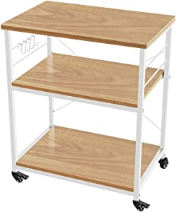 AZ L1 Life Concept Rack Utility Microwave Oven Stand Workstation Shelf, 23.7inch Movable 3 Tier Kitchen Cart, 28.74 inch, Light Walnut and White