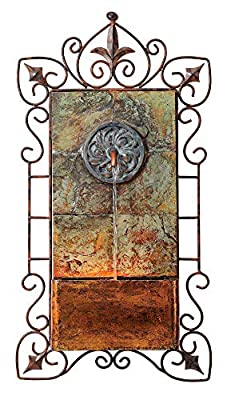 """John Timberland Ibizi Rustic Outdoor Wall Water Fountain with Light LED 33"""" High Medallion for Yard Garden Patio Deck Home Hallway Entryway"""
