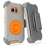 S7 Edge Case, Galaxy S7 Edge Holster Case, BENTOBEN Hybrid Dual Layer Combo Armor Heavy Duty Rugged Protective Case with Built-in Rotating Kickstand Swivel Belt Clip Holster for Galaxy S7 Edge Orange
