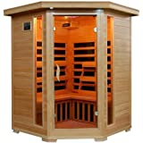 Hanko 3 Person Pre-Built Corner FAR Infrared Sauna - Quality Hemlock Construction for a Luxurious Spa Experience - 7 Premium Infra-Wave Carbon Composite Heaters - Built In MP3/AUX/CD/FM Stereo with Speakers - 7 Color Therapy Light - Backrests, Robe Hooks and Magazine Rack - 5 Year Warranty - Easy 2 Person Construction