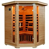 Hanko 3 Person Pre-Built Corner FAR Infrared Sauna - Quality Hemlock Construction for a Luxurious Spa Experience - 7 Premium Infra-Wave Carbon Composite Heaters - Built In MP3/AUX/CD/FM Stereo with Speakers - 7 Color Therapy Light - Backrests, Robe Hooks