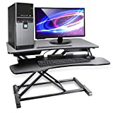 Pyle Ergonomic Standing Desk & PC Monitor Riser - Height Adjustable Laptop & Computer Table w/ Wide Keyboard Tray - Black Sit & Stand Desktop Workstation Converter for Office or Gaming Use - PDRIS14