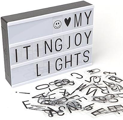 ITingjoy Combinación libre cinematográfica luz LED caja de luz con letras y tamaño A4: Amazon.es: Iluminación