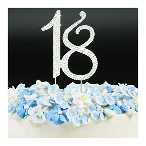 Cake Topper - Wedding Anniversary or Birthday Number Cake Topper Party Crystal Rhinestone Decoration Silver 18