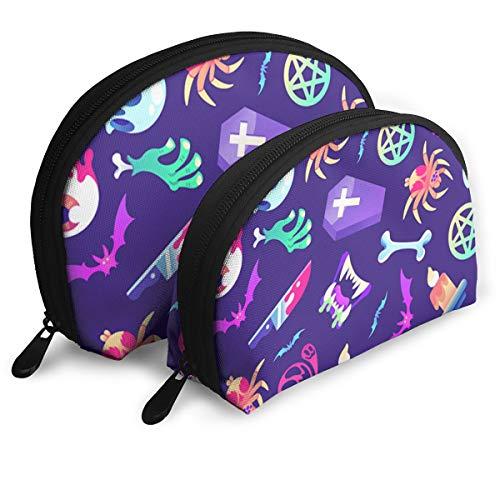 Halloween Elements Pattern Portable Half Moon Makeup Storage Bag Travel Waterproof Toiletry Bag Cosmetic Bag 2 Pack -
