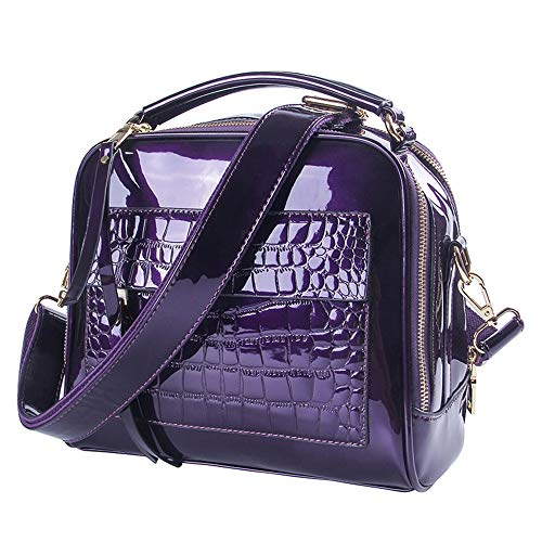 - Womens Purses and handbags Patent leather Totes Shoulder Bags Tote Bag (Purple)