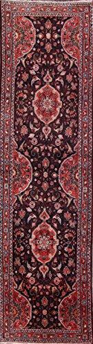 Rug Source One-of-A-Kind Nahavand Tribal Geometric Hand-Knotted 3x13 Blue Wool Persian Runner Rug (13' 2
