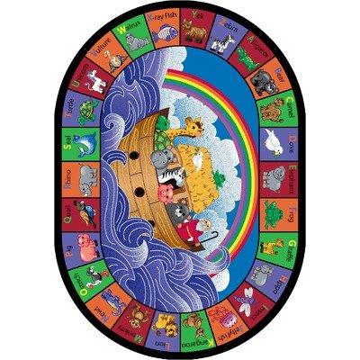 Educational Faith Based Noah's Alphabet Animals Kids Rug Rug Size: Oval 10'9'' x 13'2'' by Joy Carpets