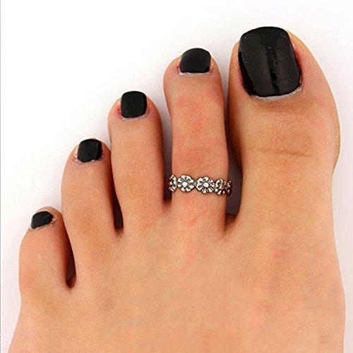 2pcs Mujer Daisy Vintage ajustable Midi Dedo Conjunta pie Toe anillo joyas