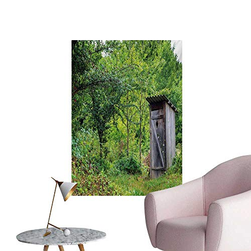 Anzhutwelve Outhouse Wallpaper Worn Out Cottage Hut in Abandoned Forest Spring Time Vivid Design ImageFern Green and Grey W24 xL36 Space Poster