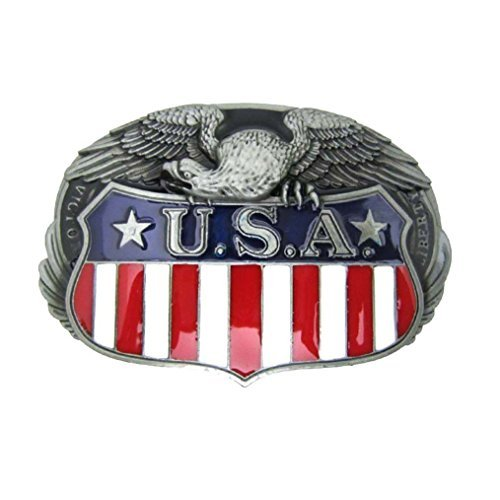 MASOP Cool Animal Eagle Men Boys USA American Belt Flag Buckle Metal ()
