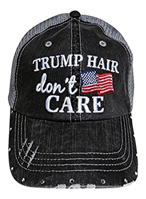 Embroidered Trump Hair Don't Care W/Crystals Grey Trucker Cap USA