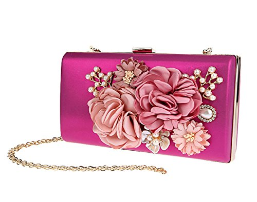 Handbag Green Bag Bridal Puluo Bag Rose Evenging for Wedding Prom Bag Shoulder Purses Clutches Front Peal Women Clutch Flower Wallet Bags gHngxEtTFw