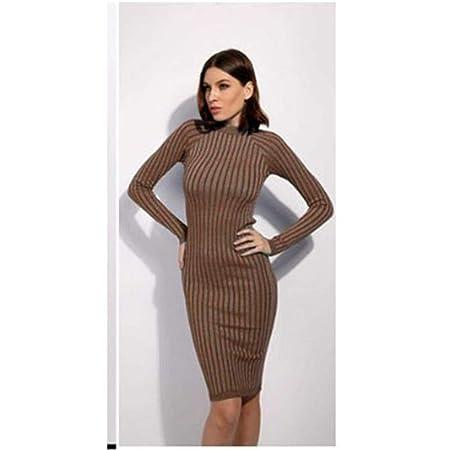 Women Long Sleeve Sweater Dress Knit Bodycon Ribbed Casual Maxi Pencil Dress UK