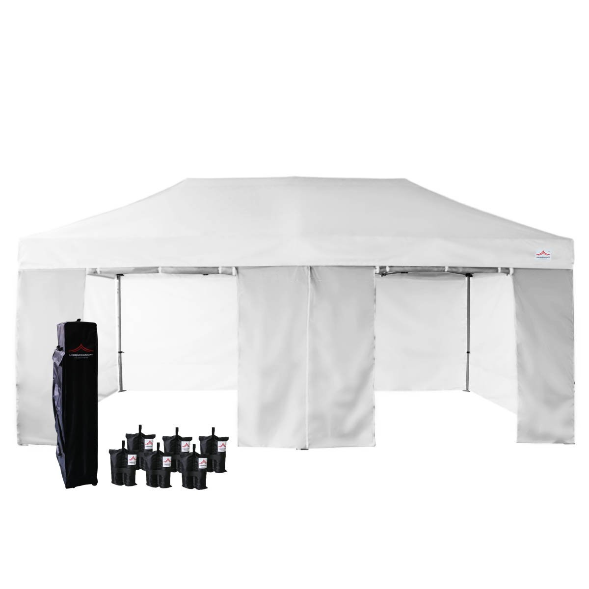 UNIQUECANOPY 10 x20 Ez Pop Up Canopy Tent Commercial Instant Shelter, with 4 Removable Zippered Side Walls and Heavy Duty Roller Bag, 6 Sand Bags White