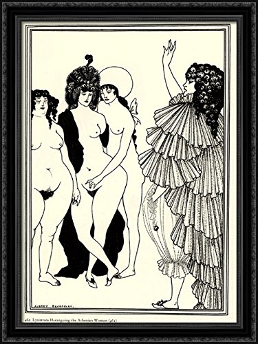 Lysistrata Haranguing The Athenian Women 28x38 Large Black Ornate Wood Framed Canvas Art by Aubrey Beardsley