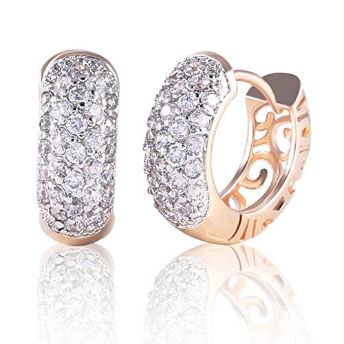 - Yves Renaud Yellow Gold Plated Round Hoop Earrings with Dazzling Austrian Crystal - Hypoallergenic Pave Fashion Jewelry for Women, Girls