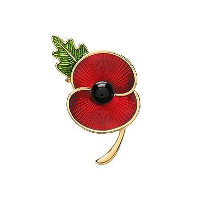 Amazon Poppy Brooches Remembrance Sunday Red Flower Rhinestone