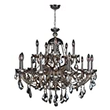 Worldwide Lighting Provence Collection 15 Light Chrome Finish and Golden Teak Crystal Chandelier 35'' D x 31'' H Two 2 Tier Large