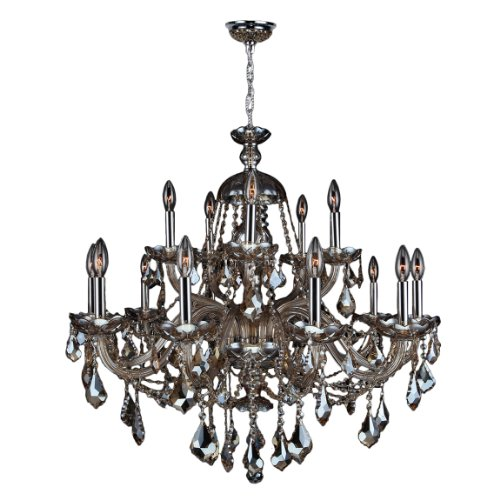 Worldwide Lighting Provence Collection 15 Light Chrome Finish and Golden Teak Crystal Chandelier 35