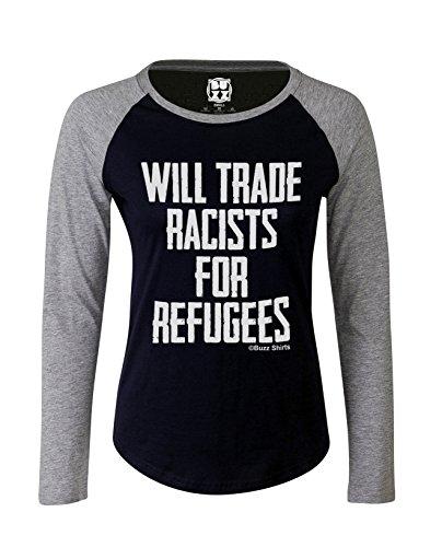 Mujer Raglan Baseball Camiseta Will trade racists for refugees Political señoras por Buzz Shirts Oxford Navy/Heather Grey