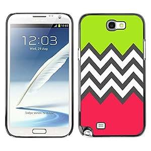 X-ray Impreso colorido protector duro espalda Funda piel de Shell para SAMSUNG Galaxy Note 2 II / N7100 - Green Pink White Pattern