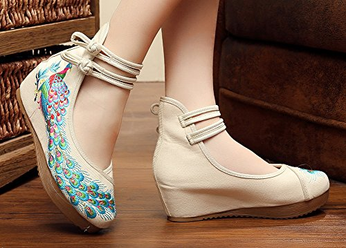 Casual Oxfords Sole Dancing Chinese Traditional Women AvaCostume Shoes Phoenix Beige Embroidered Breading 8wYfz0q