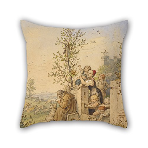 - eyeselect Oil Painting Ludwig Richter (German - Spring Has Arrived Throw Cushion Covers 16 X 16 Inches / 40 by 40 cm for Relatives Him Festival Wife Chair Dining Room with Twin Sides for Christmas