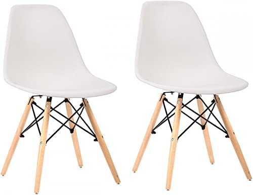 Set of 2 Mid Century Modern Style Plastic Dining Side Chair Wood Leg