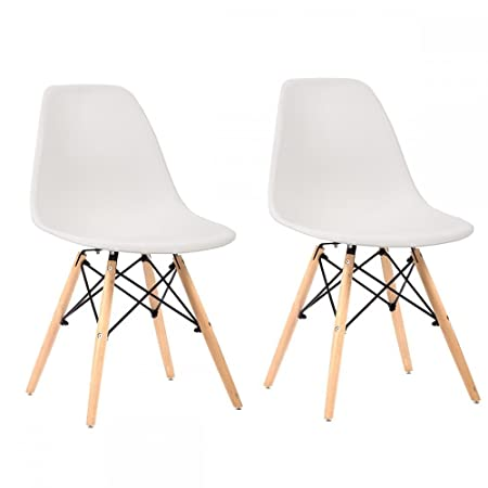 FDW Set of 2 Mid Century Modern Style Plastic Dining Side Chair Wood Legs