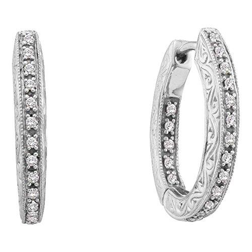 Roy Rose Jewelry 14K White Gold Womens Round Diamond Inside Outside Filigree Hoop Earrings 1/4-Carat ()