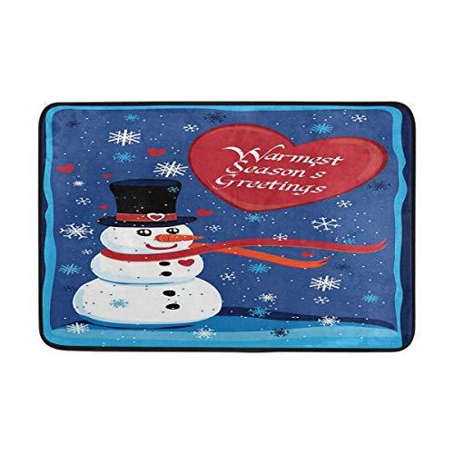 (Jugbasee Warmest Seasons Greetings Outdoor Door Mats Shoes Scraper 23.6x15.7 inch Front Entrance Outside Winter Snowman Snowflake Doormat Patio Rug Dirt Debris Mud Trapper Mat)