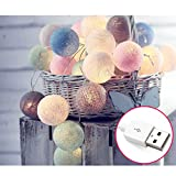 HOUTBY Cotton Ball Fairy String Lights 3M 20 LED USB String Lights for Christmas Wedding Party Home Room Bedroom Wedding Christmas Decoration