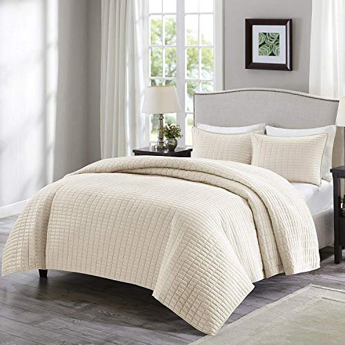 Comfort Spaces Kienna 3 Piece Quilt Coverlet Bedspread Ultra Soft Hypoallergenic Microfiber Stitched Bedding Set, King, Ivory (Cream King Size Bedding)