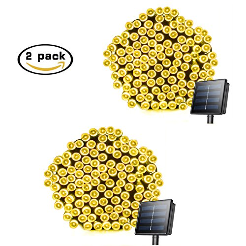 Mini Solar String Lights 72ft 200 LED Waterproof Outdoor Christmas Decoration Lights Solar Powered Thanksgiving Lights for Holiday, Patio, Lawn, Yard, Garden, Festivals, Bedroom, 2-PACK(Warm White)