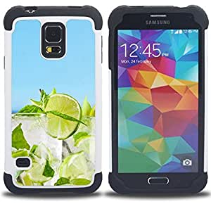 GIFT CHOICE / Defensor Cubierta de protección completa Flexible TPU Silicona + Duro PC Estuche protector Cáscara Funda Caso / Combo Case for Samsung Galaxy S5 V SM-G900 // Lime Cocktail //