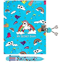 GirlZone Regalos para Niñas - Diario Secreto con Candado - Diario Niña con Llave y Boli Multicolor - 90 Páginas: 45 en…
