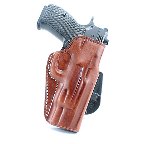 Premium Leather OWB Paddle Holster with Open Top Fits CZ 75/75B/85/P01/P06/P07/SP01, Right Hand Draw, Brown Color (CZ 75 SP-01 Tactical) #5004#
