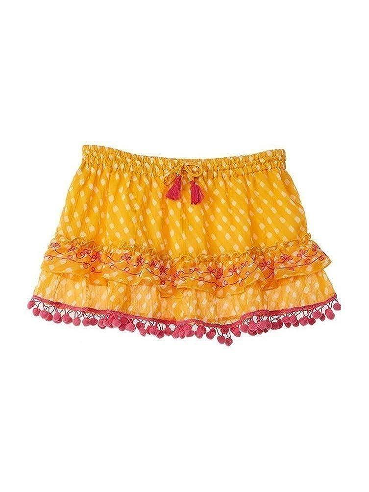 Azul Little Girls Orange Sun Down Embroidered Pom-Pom Drawstring Skirt 2T-7