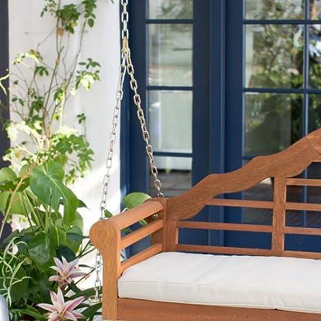 (madera de eucalipto al aire libre Porche Swing con cojín en acabado Natural (incluye cojín, porche Swing cojín, 4-foot cadenas para colgar) 60L X 21 W x ...