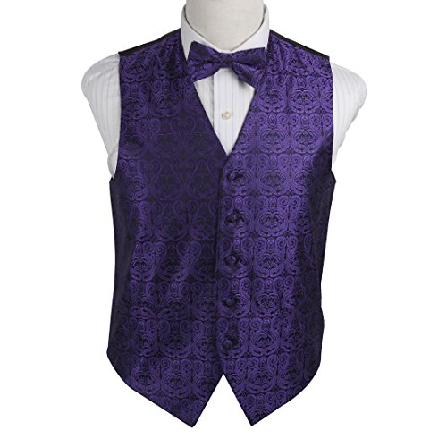 EGE1B05B-M Dark Violet Black Italian Shopstyle Paisley Microfiber Vest and Pre-tied Bow Tie Waistcoat For Lawyers By (Vest And Bow Tie)