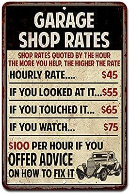Funny Mechanic Metal Tin Sign Wall Decor Man Cave Bar Shop Price List