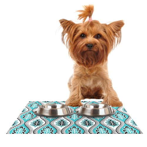 KESS InHouse Jacqueline Milton Oak Leaf-Turquoise  Floral bluee Feeding Mat for Pet Bowl, 24 by 15-Inch
