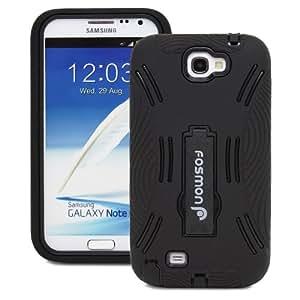 Fosmon HYBO Series Dual Layer Hybrid Kickstand Case for Samsung Galaxy Note 2 II / N7100 (Solid Black)