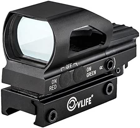CVLIFE Red & Green Dot Sight 4 Reticles Reflex Sight, New Design ON & OFF Switch with 20mm Rail Mount