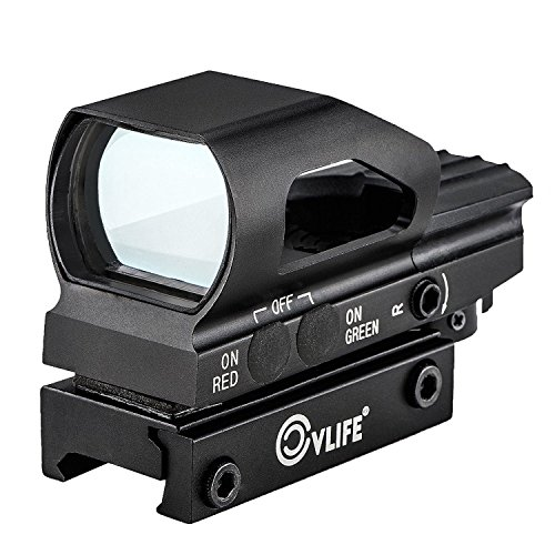 Sights Red Dot Pistol (CVLIFE Red & Green Dot Sight 4 Reticles Reflex Sight New Design ON & OFF Switch with 20mm Rail Mount)