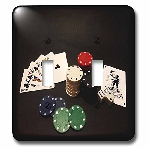 3dRose (lsp_245154_2) Double Toggle Switch (2) Image of Poker Hand with Chips on Black by 3dRose