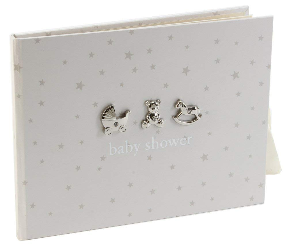 Neutral Colored Baby Shower Guest Book With 3D Silver Icons By Haysom Interiors by Happy Homewares