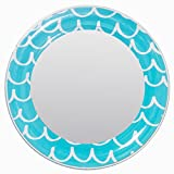 3C4G Magnetic Locker Mirror, Turquoise Blue Squiggles